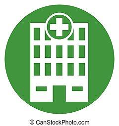 bâtiment, monde médical, vert, icône