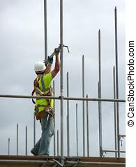 bâtiment, montage, échafaud, ouvrier, site, construction, closeup