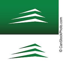 bâtiment, montagne, résumé, vecteur, ou, icône
