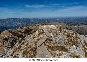 bâtiment, montenegro, parc national, njegos, mausolée, lovcen, vue
