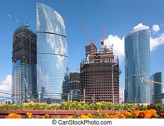 bâtiment, moscou, gratte-ciel
