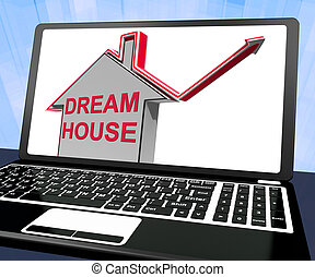 bâtiment, moyens, maison, ordinateur portable, idéal, conclusion, maison, propriété, rêve, ou