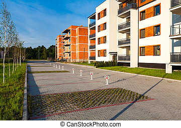 bâtiment, multi-family, construction., sous, nouveau, bloc