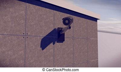 bâtiment, mur, appareil-photo cctv, sécurité, monté