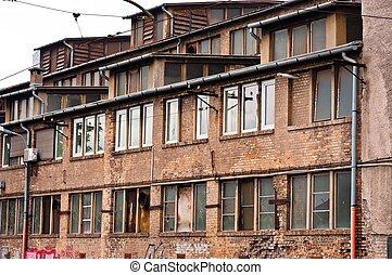 bâtiment, mur, brique, industriel, abandonnés