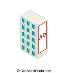 bâtiment, mur, grand, panneau affichage, icône