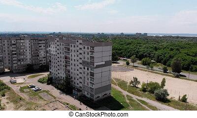 bâtiment, mur, isolation, travail, tableau industriel, vue, façade, grimpeur, aérien