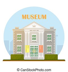 bâtiment, musée, vector.