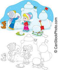 bâtiment, neige, enfants, fort
