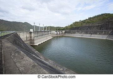 bâtiment, niveau, barrage, eau, au-dessous, srinagarind,...