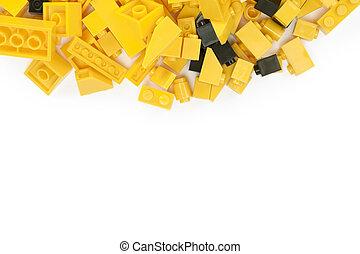 bâtiment, noir, blocs, jaune, plastique