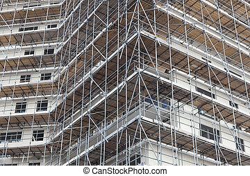 bâtiment, nouveau, appartement, échafaudage, site