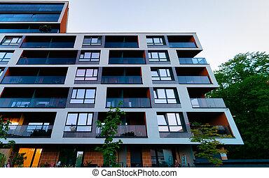 bâtiment, nouveau, appartement, extérieur
