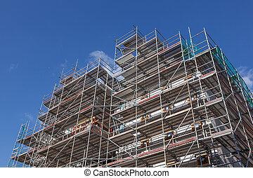 bâtiment, nouveau, construction, échafaudage, site