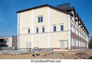 bâtiment, nouveau, construction, bureau