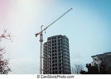bâtiment, nouveau, construction, soir, site