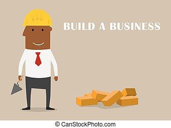 bâtiment, nouveau, heureux, business, homme affaires