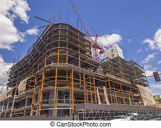 bâtiment, nouveau, site construction