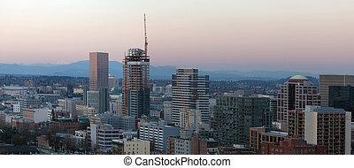 bâtiment, noyau, contstruction, en ville, orégon, nouveau, portland