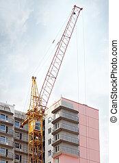 bâtiment, nuages, grand ciel, jaune, constructio, partie, grue, sous, stationnaire