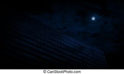 bâtiment, nuit, bureau, lune