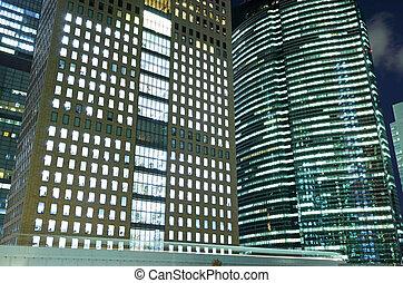bâtiment, nuit, bureau, tokyo