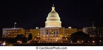 bâtiment, nuit, capitole washington, dc