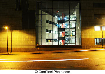 bâtiment, nuit, centre, bureau, helsinki