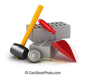 bâtiment, outils, marteau brique, truelle