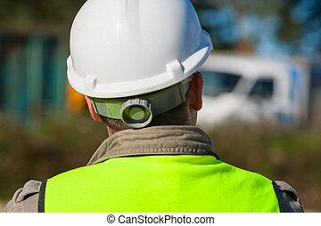 bâtiment, ouvrier dur, site, chapeau construction