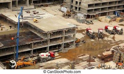bâtiment, ouvriers, grue, site, élévation