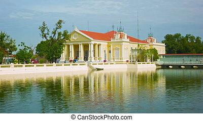 bâtiment, palace., coup, ayuthaya., douleur, thailand., étang