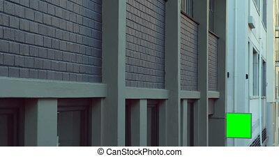 bâtiment, palissade, extérieur, ville, 4k, rue, mené