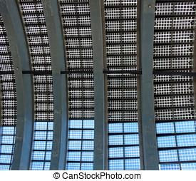 bâtiment, panneaux, fait, solaire, toit