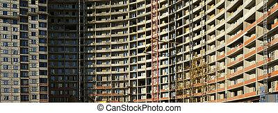 bâtiment, panorama, fond, sous, grue, construction.