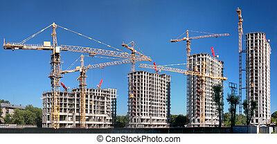 bâtiment, panorama, lotissement