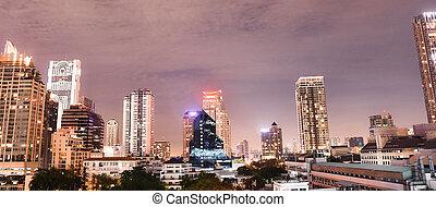 bâtiment, panorama, vue, nuit