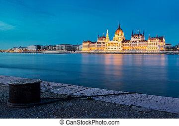 bâtiment, parlement, coucher soleil, hongrois