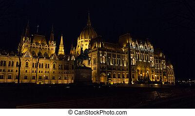 bâtiment, parlement, détail, hongrois, nuit