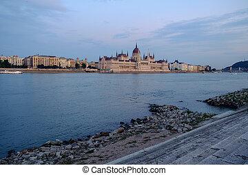 bâtiment, parlement, hongrois, nuit