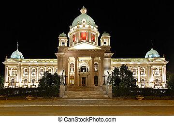 bâtiment, parlement, serbie