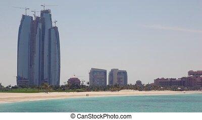 bâtiment, paumes, rivage, gratte-ciel, dhabi, uae, abu