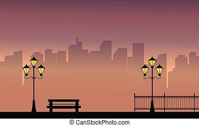 bâtiment, paysage, lampe, rue, nuit