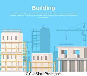 bâtiment, paysage., vue., construction, ville