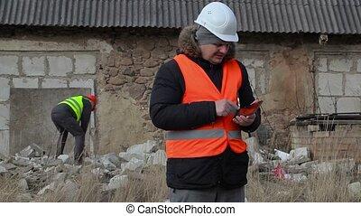 bâtiment, pc, inspecteur, tablette