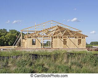 bâtiment, pendant, construction, encadré