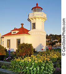 bâtiment, phare, mukilteo, pendant, blanc, sunset.