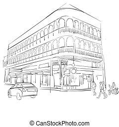 bâtiment, phuket, vieille ville, historique