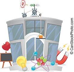 bâtiment, physique, laboratoire