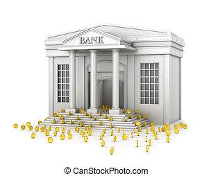 bâtiment, pièces., concept, or, remplit, fiable, illustration, savings., banque, 3d